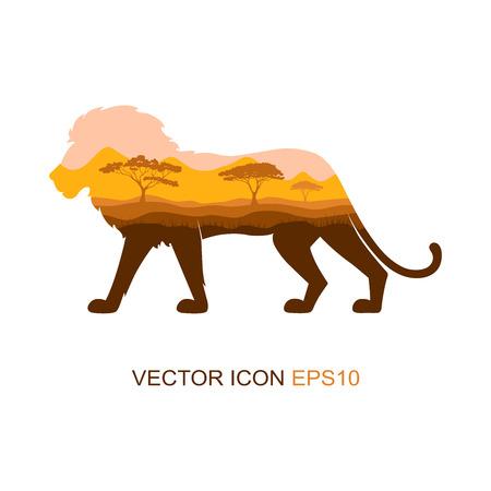 Silhouette of a lion. Vector illustration. Logo. Lion profile side view.