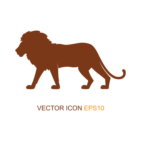 Vector illustration with a silhouette of a lion on a white background. Lion profile side view. Silhouette of a lion. Logo. Vector illustration. Ilustrace