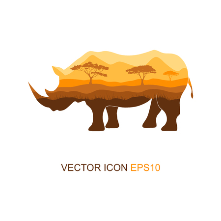 Vector illustration of a silhouette of a rhino on an isolated white background. Rhinoceros side view profile. Silhouette of rhinoceros. Logo. Vector illustration.