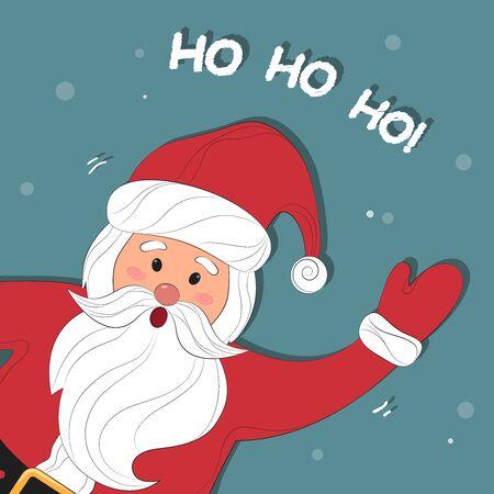 Santa Claus Cartoon. Christmas background with Santa Claus. Merry Christmas and Happy New Year. Ho-Ho-Ho! Vector illustration. Vettoriali
