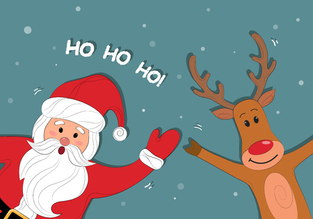 Santa Claus and polar reindeer cartoon. Christmas background with Santa Claus. Merry Christmas and Happy New Year. Ho-Ho-Ho. Vector illustration.