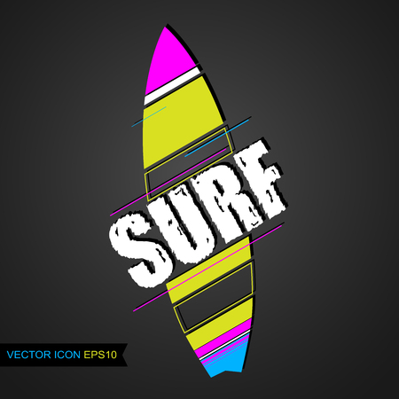 Logo surfing. Emblem of Surf Club with surfing boards. Vector illustration. Flat icon.