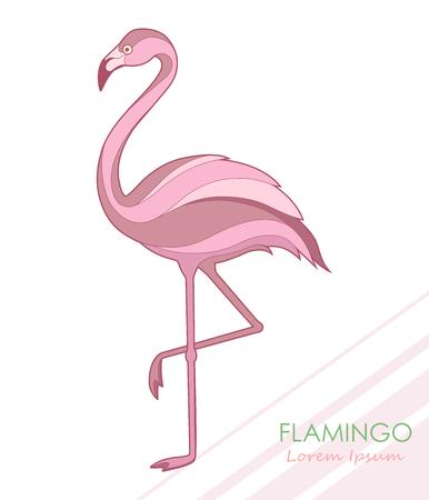 Flamingo. Silhouette of a flamingo. Vector illustration. Logo.