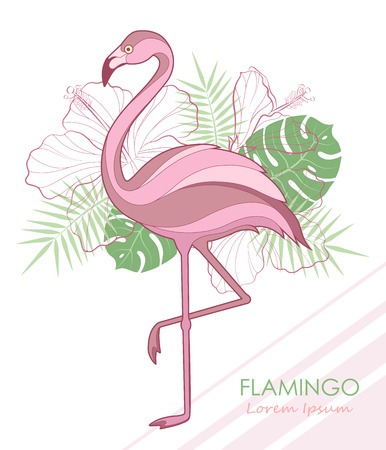 Silhouette of flamingos. Vector illustration. Vector. Flamingos and tropical plants.