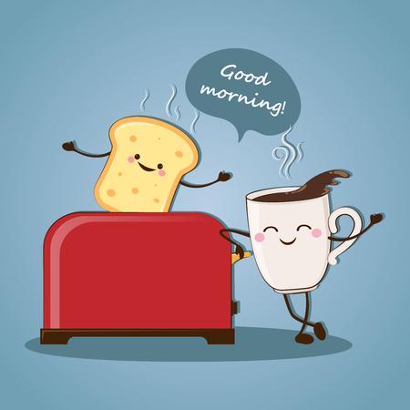 Morning breakfast. Good morning! Morning coffee. Vector illustration.