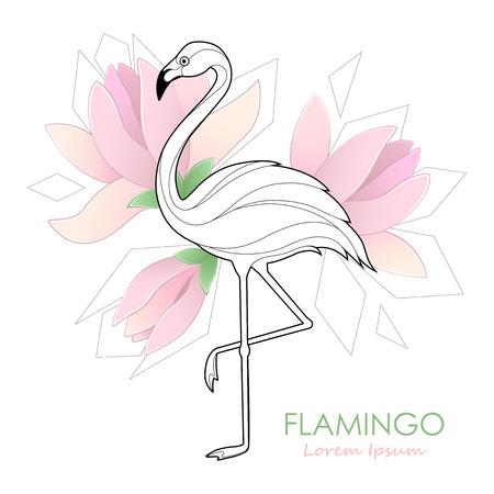 Flamingo. Vector illustration with a flamingo. Tropical Bird. Design. Logo. Vettoriali
