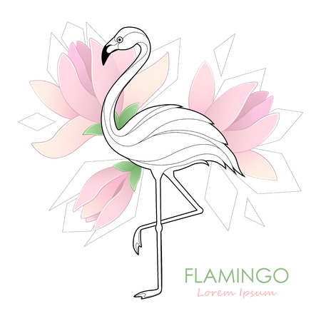 Flamingo. Vector illustration with a flamingo. Tropical Bird. Design. Logo. Ilustração
