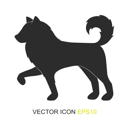 Silhouette of a dog. Vector. Simple image of a dog. View from the side of the dog.