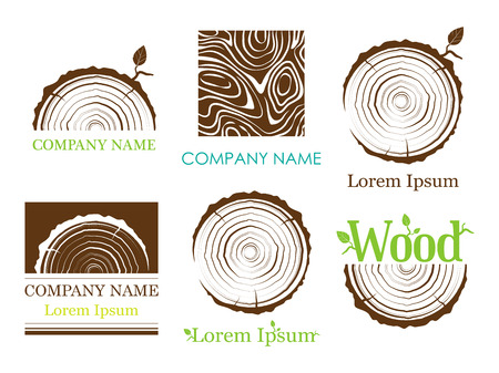 Set a cross section of the trunk with tree rings. Vector. Logo. Tree growth rings. Tree trunk cross-section. Flat icon. Vettoriali