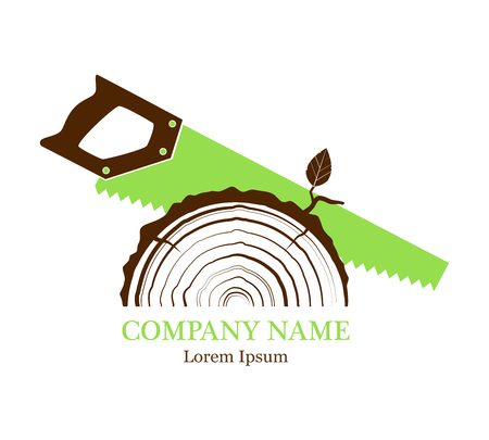 Cross section of the trunk with tree rings. Vector. Logo. Rings of tree growth. Section of the tree trunk. Flat icon. Saw a tree. Forest works.