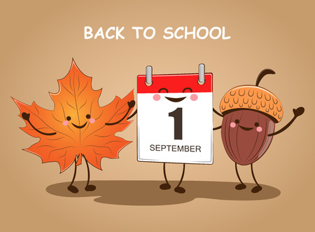 September 1. Back to school. Vector illustration. Day of knowledge. Vettoriali