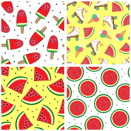 Set of seamless patterns with watermelon. Summer patterns. Vector. Vector illustration. Simple backgrounds with watermelon.