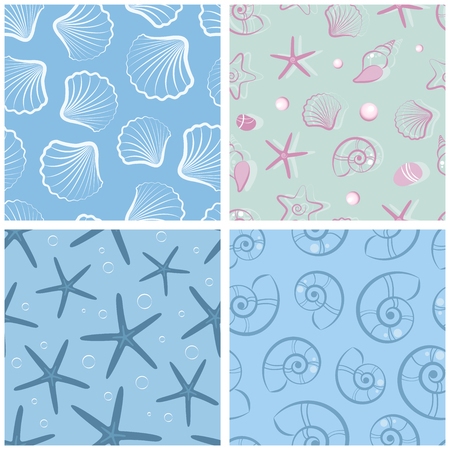 A set of simple patterns with seashells. . A set of seashells.