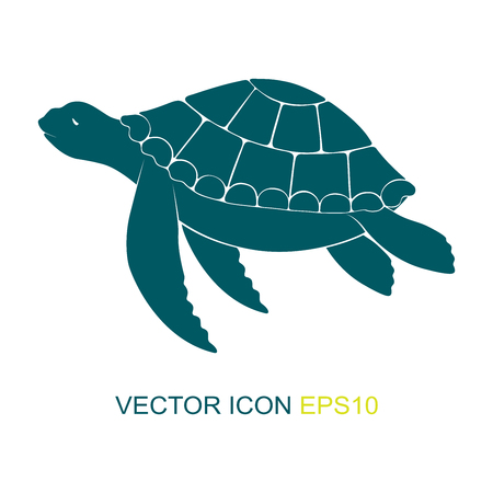 Silhouette of a turtle. Vector. Logo. View of a turtle on the side. Vector illustration. Vettoriali