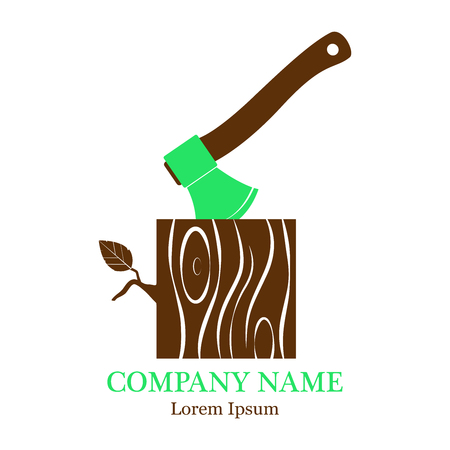 Vector illustration with an image of an ax with a stump. Stump with an ax, isolated on a white background. Wooden woodworking logo or badge. Logo. A flat icon. Ilustração