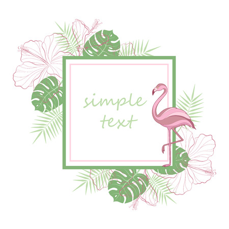 Text placeholder. Exotic tropical jungle rain forest bright green palm tree, pink flamingo birds, hibiscus and plumeria flowers frame template with place for text on white background. Vettoriali