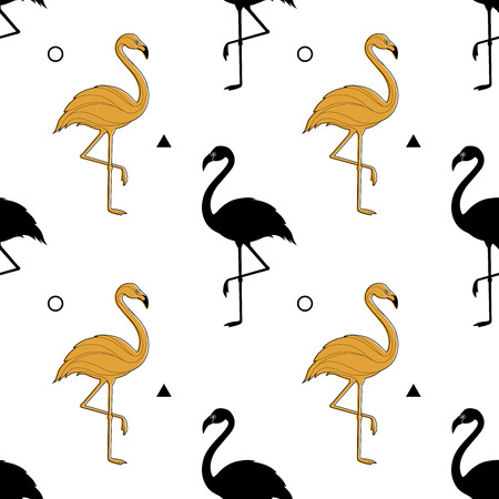 Pattern with a silhouette of a golden flamingo Vettoriali