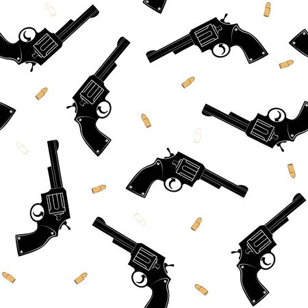 Pattern with a silhouette of a black pistol and gold bullets Ilustração