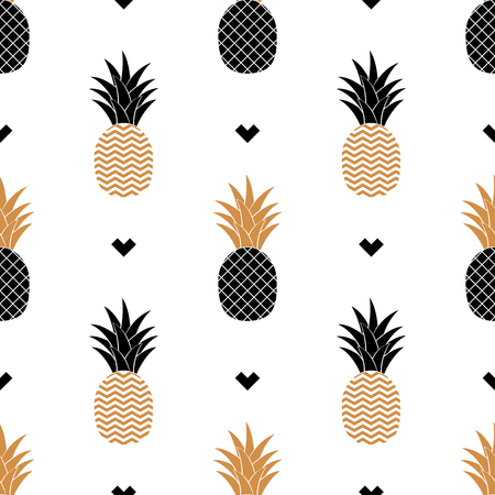 Simple seamless background with a picture of a golden pineapple. Ilustração