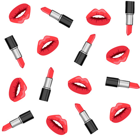 Seamless background with the image of lips and lipstick.