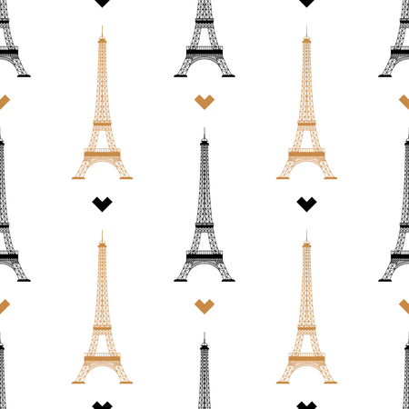 Simple seamless background with a golden tower silhouette on a white background. Vector illustration. Silhouette Eiffel Tower Paris, France isolated on white background.