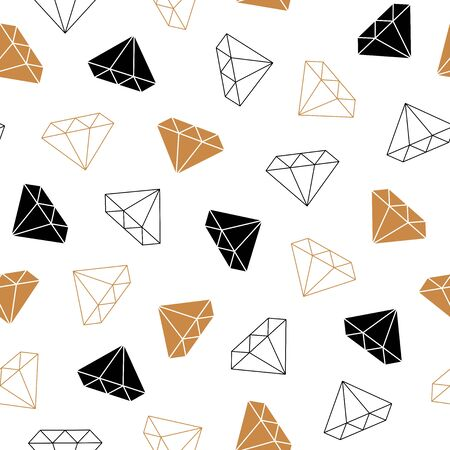 Simple seamless background with a silhouette of a diamond. Black and gold style diamonds background. Geometric seamless pattern with linear diamonds. Vector illustration. Vettoriali