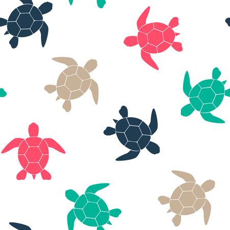 Eenvoudige naadloze achtergrond met een silhouet van een schildpad op een witte achtergrond. Vector illustratie. Vector. Vector Illustratie
