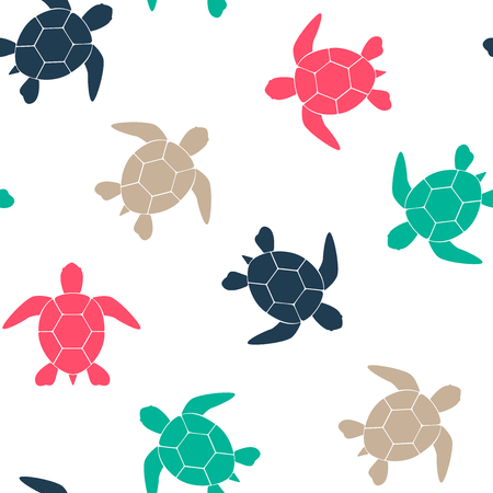 Simple seamless background with a silhouette of a turtle on a white background. Vector illustration. Vector.