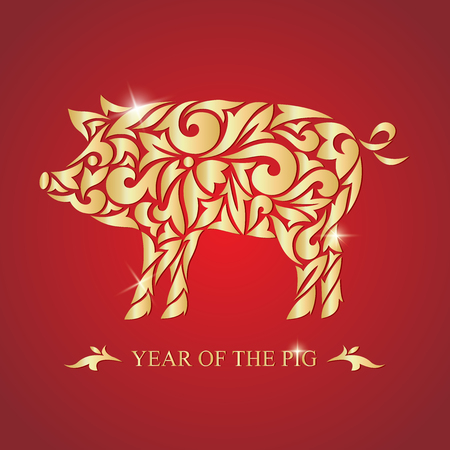 The year of the pig. Happy new year. Vector illustration. Image of a golden pig on a red background.