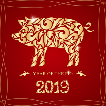 Year of the golden pig illustration