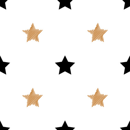 Simple seamless background with gold and black stars. Vector illustration. Vettoriali