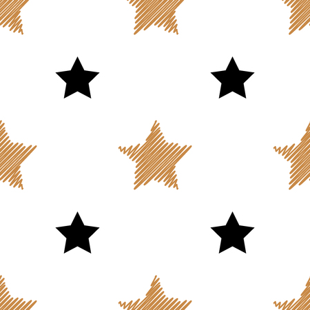 Simple seamless background with gold and black stars. Vector illustration. Stars on a white background