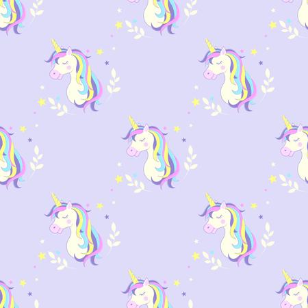 Seamless background with unicorn. Vector. Image unicorn head.