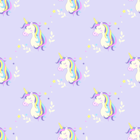 Seamless background with unicorn. Vector. Image unicorn head.