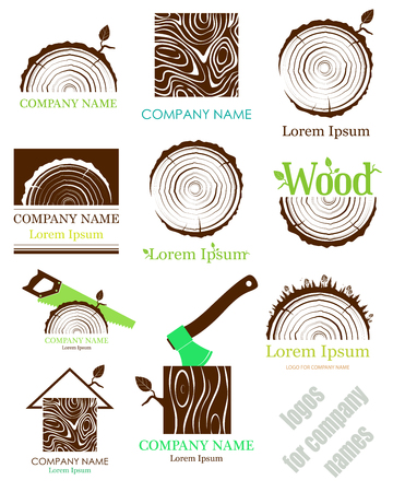 Set a cross section of the trunk with tree rings. Vector. Logo. Tree trunk cross-section. flat icon.