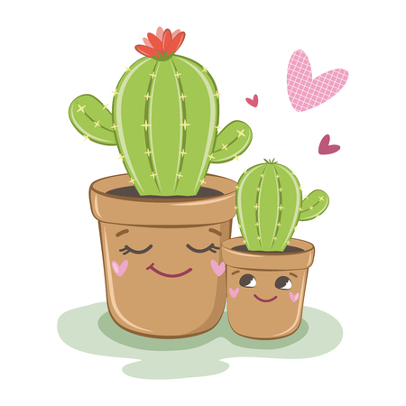 Vector image of cactus. Family of cacti. Vector illustration. Plants