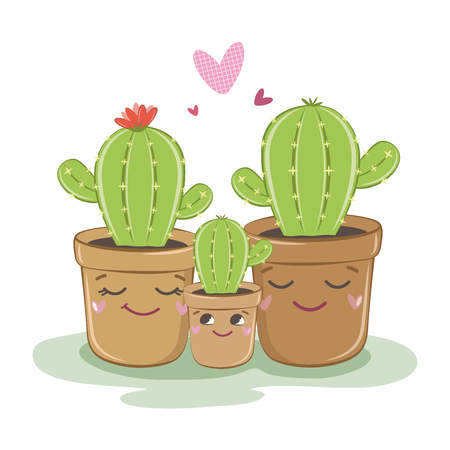 Vector illustration of a family of cacti. Vector illustration.