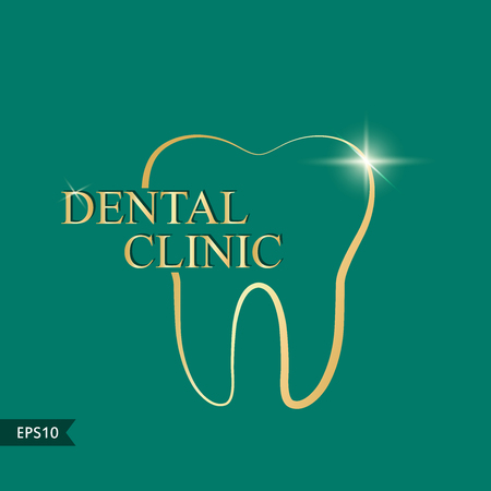Dental clinic logo.Vector illustration. Simple gold logo Ilustração