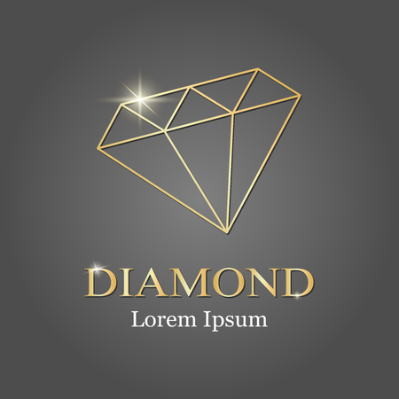 gold diamond logo. Diamond silhouette Vector illustration
