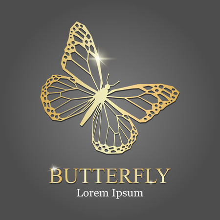 golden butterfly logo. Vector illustration. Golden butterfly silhouette. company logo Ilustração