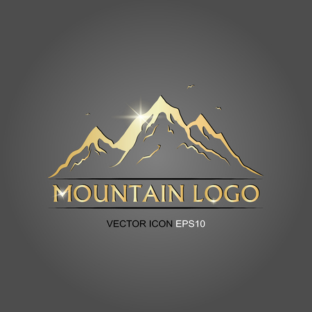 mountains logo golden. vector illustration. flat image of mountains. vector logo Ilustração