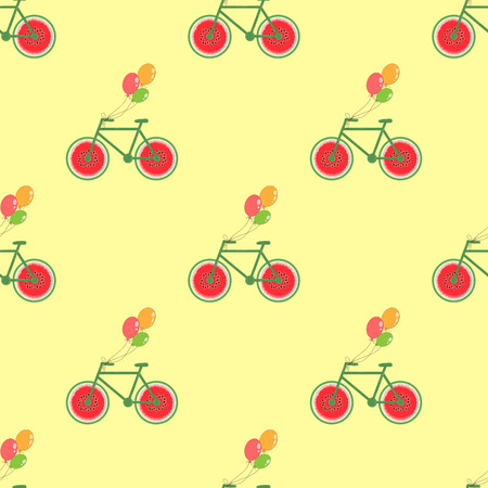seamless background with bike, wheels watermelons. vector. simple pattern Ilustração