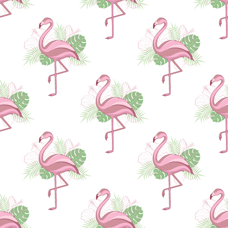 Seamless background with flamingos. A simple pattern. Vector.