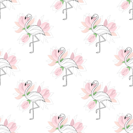 background with flamingos. A simple pattern. Flamingo and palm branch on a white background. Vector