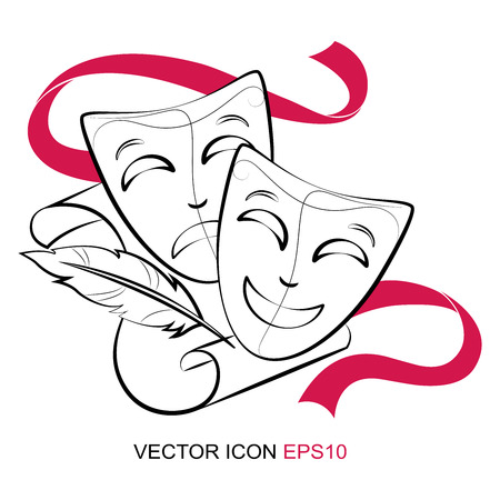 silhouette of theatrical mask. Vector illustration. vector