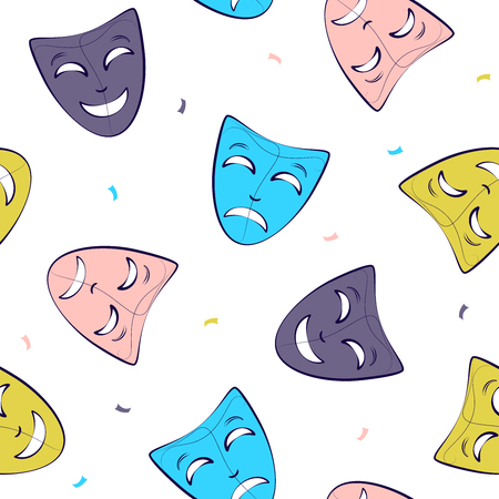 theatrical mask pattern. Simple seamless pattern with masks. Vector Ilustração