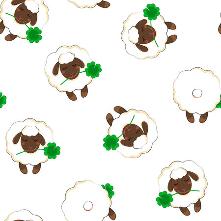 Simple pattern with the image of a sheep. Seamless background. vector.