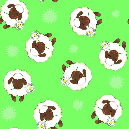 Simple pattern with the image of a sheep. Seamless background. vector Isolated background Ilustração