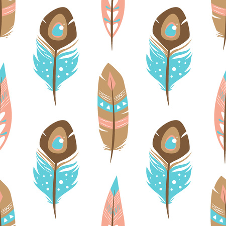 Simple seamless pattern with feathers. Three feathers pattern. vector
