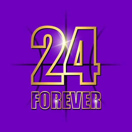 vector background with golden number 24. Vector background 24 black forever. basketball. Vector illustration.